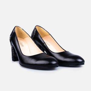 Pantofi  eleganti dama din piele naturala - 174 Negru box + print