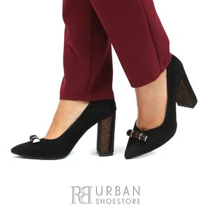 Pantofi eleganti dama din piele naturala  -  1866 Negru Velur