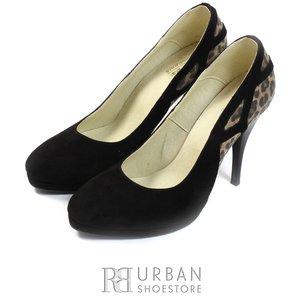 Pantofi eleganti dama din piele naturala - 236 negru leopard velur