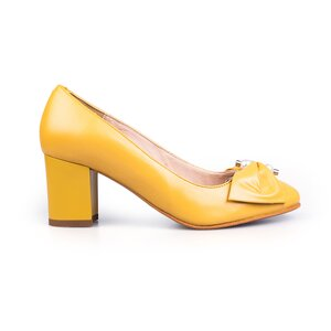 Pantofi eleganti dama din piele naturala  - 450 mustar box