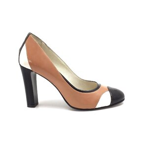 Pantofi eleganti dama din piele naturala - 517 maro multicolor lac