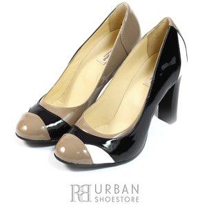 Pantofi eleganti dama din piele naturala -517 negru-multicolor