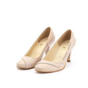Pantofi eleganti dama din piele naturala - 564 bej box+velur