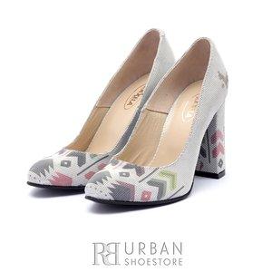 Pantofi eleganti dama din piele naturala cu motiv traditional - 22  Argintiu
