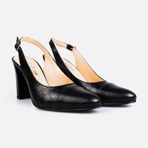 Pantofi  eleganti  decupati dama din piele naturala  - 175 negru box perforat