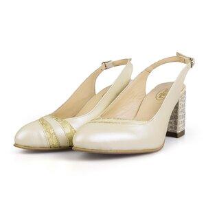 Pantofi eleganti decupati dama  din piele naturala - 2050 Crem box sidefat
