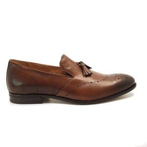 Pantofi eleganti barbati din piele naturala cu ciucuri, Leofex - 899 cognac box