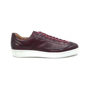Pantofi sport barbati din piele naturala cu siret pana in varf, Leofex - 517-1 Visiniu box