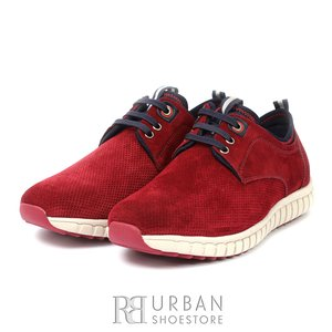 Pantofi sport barbati din piele naturala, Leofex - 942 visiniu velur
