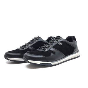 Pantofi sport barbati din piele naturala, Leofex -  Mostra Adelin negru box