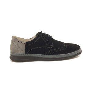 Pantofi sport-casual barbati din piele naturala,Leofex -Mostra 975-1 Negru cu Gri Velur