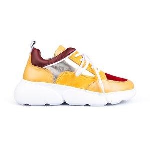 Pantofi sport dama din piele naturala, Leofex- 238 Galben visiniu