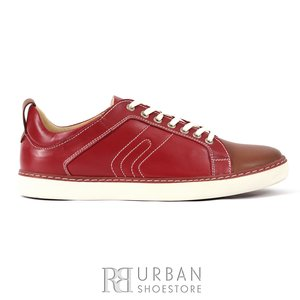 Pantofi sport barbati din piele naturala, Leofex - 850 visiniu box