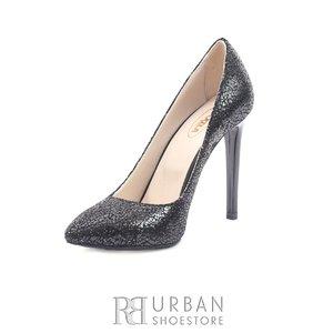 Pantofi stiletto dama din piele naturala - 139 Negru Sifonat