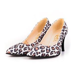 Pantofi stiletto dama din piele naturala, Leofex- 844 Leopard velur