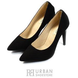Pantofi stiletto dama din piele naturala - 597 negru velur