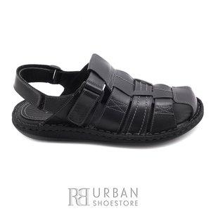 Sandale barbati din piele naturala, Leofex - 141 negru BOX