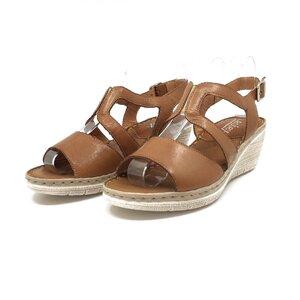 Sandale cu platforma dama din piele natural,Leofex - 232 maro box