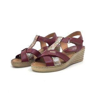 Sandale cu platforma dama din piele naturala,Leofex - 214-1 visiniu sidef