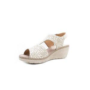 Sandale cu platforma dama din piele naturala, Leofex - 218 Bej box
