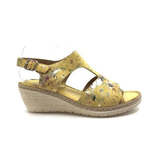 Sandale cu platforma dama din piele naturala, Leofex - 218 Galben flori