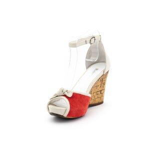 Sandale cu platforma dama din piele naturala, Leofex - 301 rosu velur