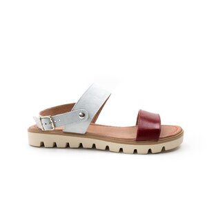 Sandale cu talpa joasa dama din piele naturala, Leofex - 043 rosu+gri box velur