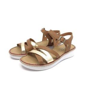 Sandale cu talpa joasa dama din piele naturala Leofex- 162 cognac - auriu