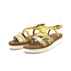 Sandale cu talpa joasa dama din piele naturala,Leofex - 205-2 galbeni+argintiu box