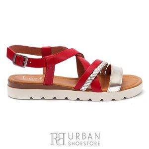 Sandale cu talpa joasa dama din piele naturala Leofex- 205  Rosu