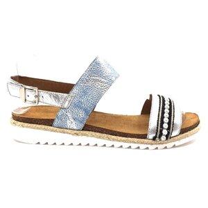 Sandale cu talpa joasa dama din piele naturala,Leofex - 206-1 blue metalizat