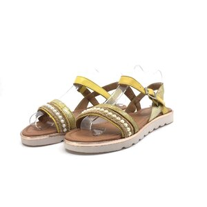 Sandale cu talpa joasa dama din piele naturala,Leofex- 208 Galben Box
