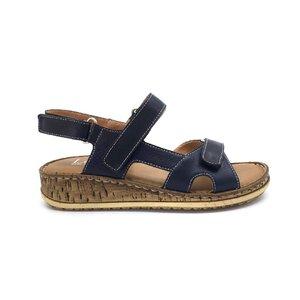 Sandale cu talpa joasa dama din piele naturala, Leofex - 212-2 Blue box