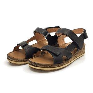 Sandale cu talpa joasa dama din piele naturala, Leofex - 212-2 Negru box