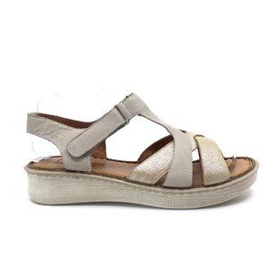Sandale cu talpa joasa dama din piele naturala, Leofex - 216 Bej  auriu sidef box