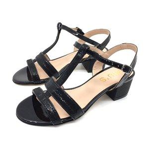 Sandale cu toc dama din piele lacuita - 140/7 negru  croco