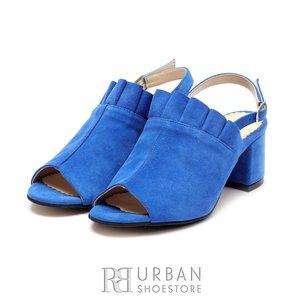 Sandale cu toc dama din piele naturala  - 0481-1 Albastru velur