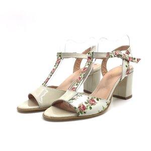 Sandale cu toc dama din piele naturala-259 Bej Lac Flori