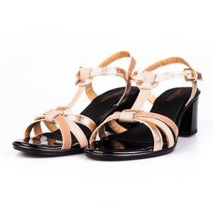 Sandale cu toc dama  din piele naturala- Ada Bej Lac