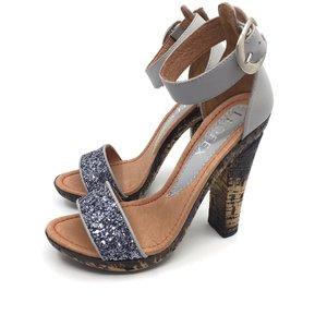 Sandale cu toc dama din piele naturala, Leofex - 039-2 Gri - Argintiu Box