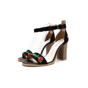 Sandale cu toc dama din piele naturala,Leofex- 130 Negru Velur Brodat