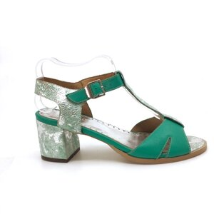 Sandale cu toc dama din piele naturala,Leofex-156 Verde Box Sidef