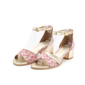 Sandale cu toc dama din piele naturala, Leofex - 228-1 Roz Auriu Box