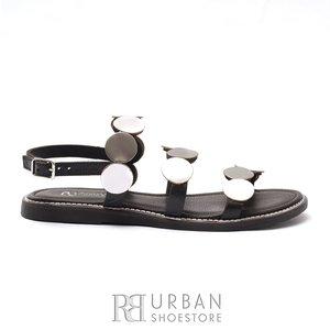 Sandale cu talpa joasa dama din piele naturala - 707 Negru Argintiu Box