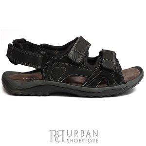 Sandale barbati din piele naturala, Leofex - 633 negru nabuc