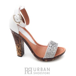 Sandale cu toc dama din piele naturala, Leofex - 039-2 alb argintiu