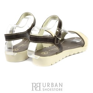 Sandale dama cu talpa joasa din piele naturala - 506 maro-bej