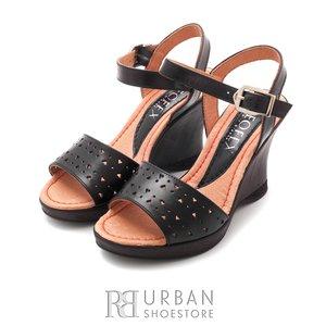 Sandale cu platforma dama din piele naturala - 034-1 negru