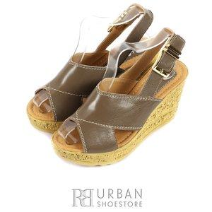 Sandale cu platforma dama din piele naturala  - 346 taupe