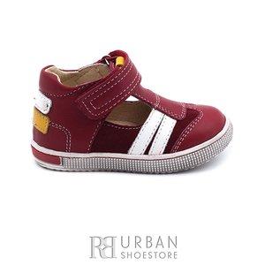 Sandale din piele naturala nabuc si box pentru copii – 119 rosu